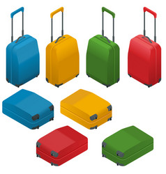 Travel suitcases flat isometric vector