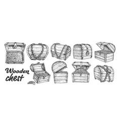 Treasure chest collection monochrome set vector