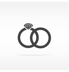 Two bonded wedding rings marriage icon diamond vector