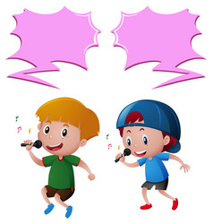 Two boys singing song on microphone vector