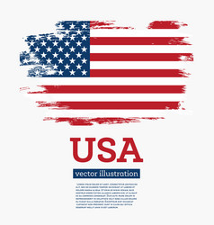 usa flag with brush strokes vector image