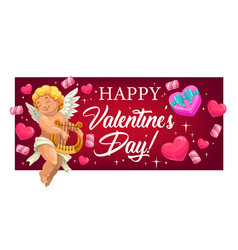 valentines day hearts gift and cupid with lyre vector image