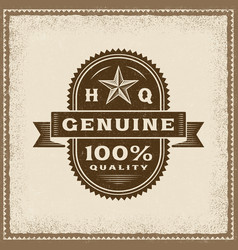 vintage genuine 100 percent quality label vector image