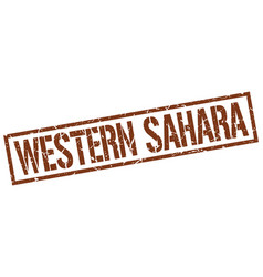 Western sahara brown square stamp vector