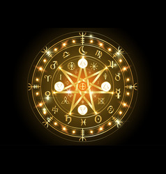 wiccan symbol protection bright gold mandala vector image