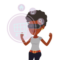 Woman in virtual reality headset shopping online vector