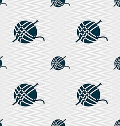 Yarn ball icon sign Seamless pattern with vector