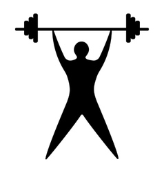 young man athlete raises bar silhouette vector image
