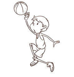 A plain sketch of a male basketball player vector image