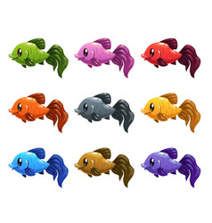 funny cartoon colorful fishes set vector image vector image