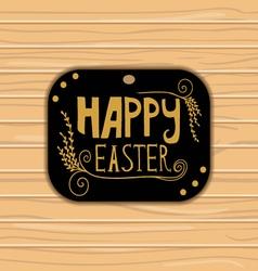 Golden Happy Easter lettering on wooden background vector image vector image