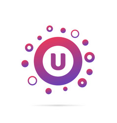 letter u with dots logo design vector image vector image