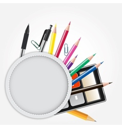 School theme background with different tools vector image vector image