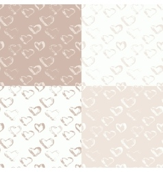 Abstract seamless ink heart pattern vector image vector image