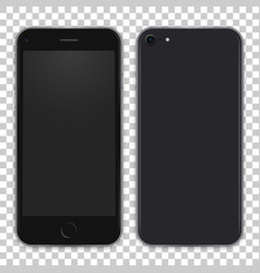 Black phone concept from front side and back view vector