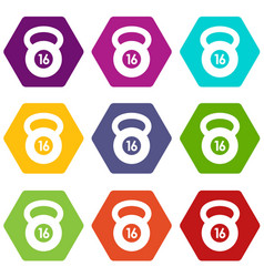 kettlebell icon set color hexahedron vector image
