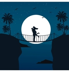 Man woman couple hug silhouette with moon in the vector