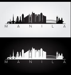 manila skyline and landmarks silhouette vector image