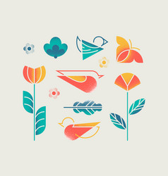spring objects set vector image vector image