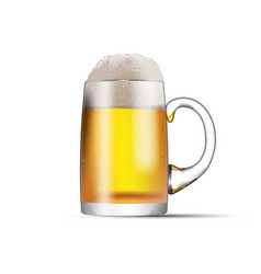 a glass mug with beer and foam isolated on white vector image