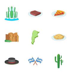 Argentina picnic icons set cartoon style vector