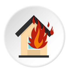 Flames from house window icon circle vector