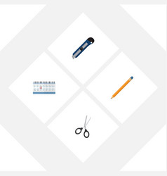 flat icon equipment set of drawing tool clippers vector image vector image