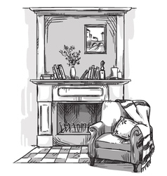 Hand drawn fireplace and an armchair vector image
