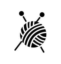 sewing - ball of yarn - knitting needles icon vector image