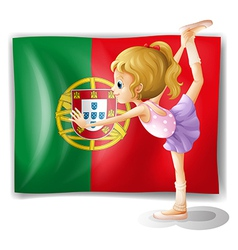 A young girl in front of the Portugal flag vector image
