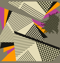 Abstract geometric collage orange pattern vector