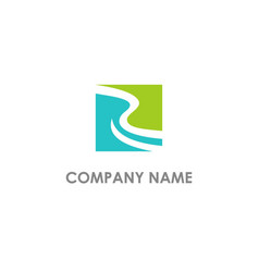 Abstract river square landscape logo vector