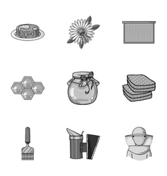 Apiary set icons in monochrome style Big vector