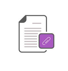 attachment document file page paper clip icon vector image