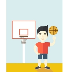 Basketball player spinning ball vector image