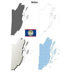 Belize outline map set vector