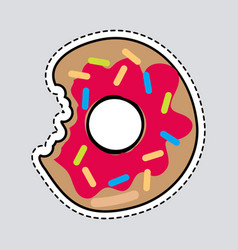 Bitten donut logo patch cut out doughnut sticker vector