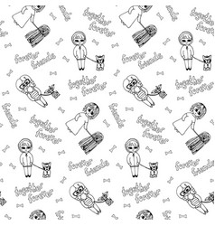 Black and white seamless pattern with kids vector
