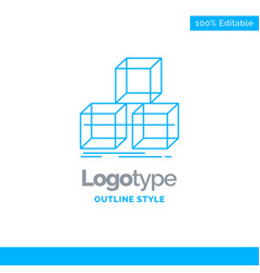 Blue logo design for arrange design stack 3d box vector