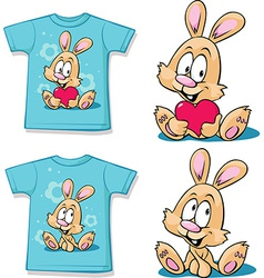 Blue shirt with cute bunny - vector