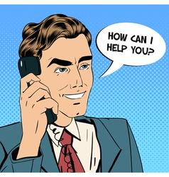 businessman speaking on phone pop art vector image