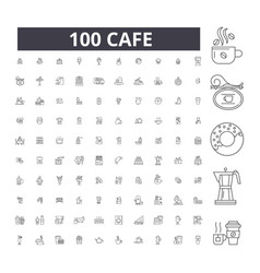 cafe editable line icons 100 set vector image