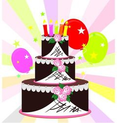 Cake on a colorful background vector image