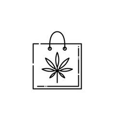 Cannabis line icon on shopping bag vector