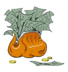 Cartoon image of wallet full of money vector