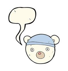 Cartoon polar bear cub wearing hat with speech vector