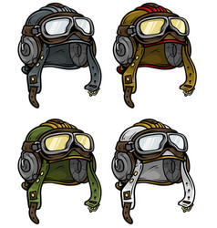 Cartoon retro aviator pilot helmet icon set vector