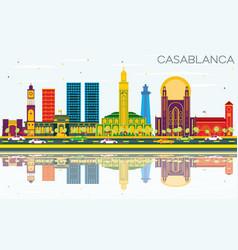 Casablanca morocco city skyline with color vector