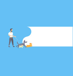 casual man dog walker guy walking with dogs owner vector image