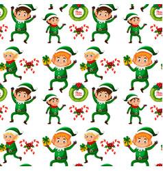 christmas elf seamless background vector image
